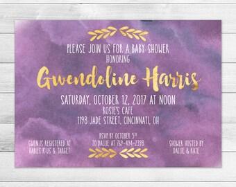 Gold & Purple Baby Shower Invitation, Girl Digital Printable Invite