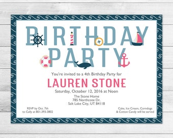 Nautical Birthday Party Invitation, Printable Digital Invite File, Ocean, Girl, Pink, Sailing