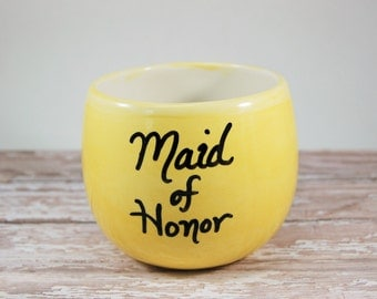 Bridesmaid Stemless Wine Glass, Maid of Honor Wine Glass, Ceramic Wine Glass, Yellow Stemless Wine Glass, Red Wine Glass, Wedding party gift