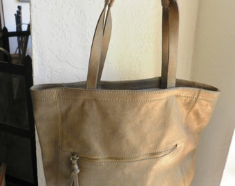 Bronze Leather Shoulder Tote Bag Coldwater Creek Large