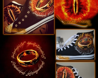 Hand Painted Shoes, Lord of the Rings, Eye of Sauron, The One Ring, Geeky Gifts, Nerdy Presents, Hi Top Canvas Sneakers, Unique Gifts