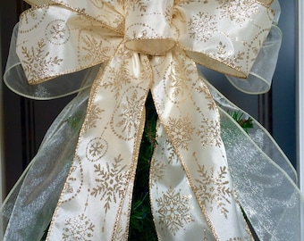 Bow Tree Topper Bow Ivory Gold Tree Top Bow Wired Christmas Tree Topper Wreath Garland Bow