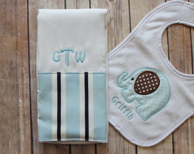 Monogrammed Baby Boy Elephant Bib and Burp Cloth Set, Elephant Baby Gift, Personalized Baby Boy Gift, Applique Elephant Bib, Monogram Burp