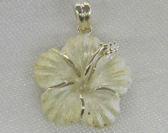 "Sterling Silver 925 Happy Hawaiian Flower 1 1/4"" Long ET 6090"