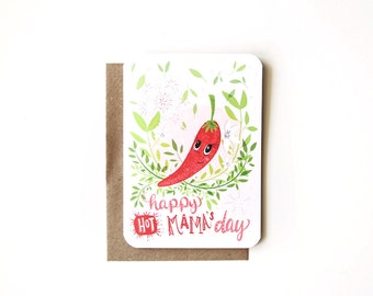 Hot Mama Blank Greeting Card - Mother's Day Card with Recycled Kraft Envelope
