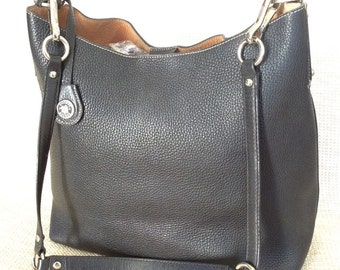 Vintage large DOONEY & BOURKE black pebble leather tote bag