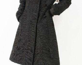 Black Broadtail Persian Lamb Fur Coat S-XS Vintage