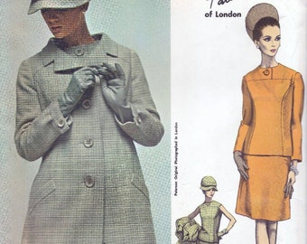 60s Vogue couturier design 1666, Vogue sewing patterns, coat and dress pattern, factory folded, Ronald Patterson, Bust 36 inches