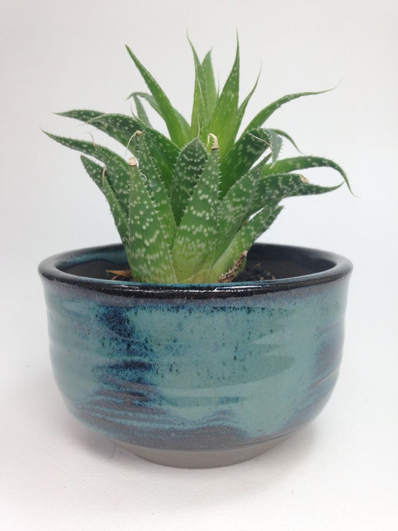 Succulent Planter Ceramic Planter Blue Clay Pot Stoneware