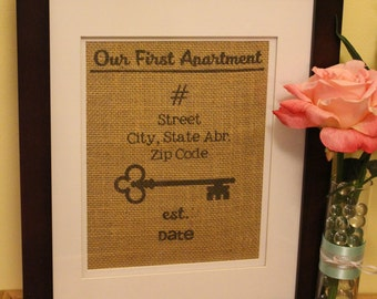 Personalized Our First Apartment/Home Burlap Print