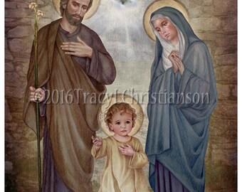 The Holy Family (E), St. Joseph, Virgin Mary and Child Jesus Catholic Art Print #4270
