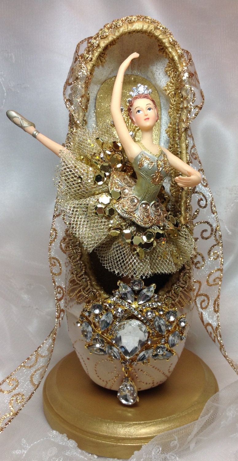 Ivory and gold ballet centerpiece ooak decorated pointe shoe