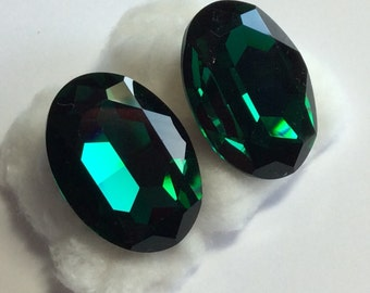 Green Intense Multi Facetted  Emerald Green Earrings Pierced