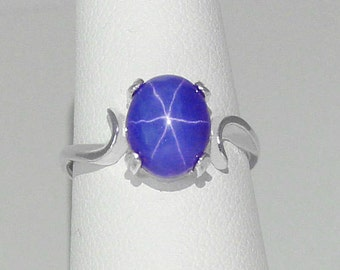 Blue Star Sapphire Ring Sterling Silver / 3.0 ct Cornflower Blue Star Sapphire Ring Silver