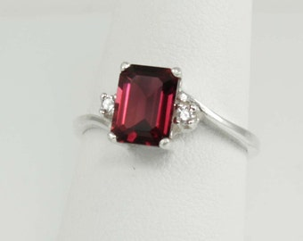 Sterling Silver Garnet Ring / Garnet Ring Silver January Birthstone