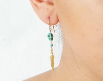 Small Turquoise Skull with Golden Feather Earrings ~ Dangle Earrings ~ Halloween ~ Tribal Skull Earrigns ~ Simple Modern Jewelry