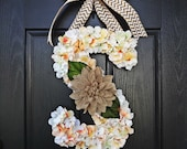 Extra Large Hydrangea Covered Monogram, Large Spring Door Monogram, Burlap Chevron Flower Wreath, Hydrangea Wreath, Spring Door Decor