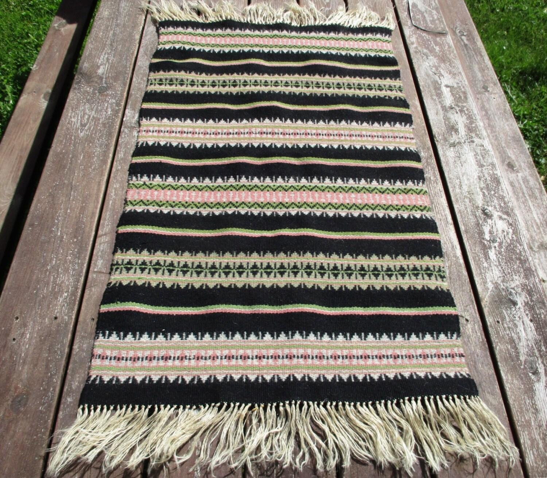 Wool Table Runner Vintage Navajo Rug Striped Handwoven