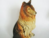 Vintage Porcelain Rough Collie dog Figurine Brown White Lassie Japan Lefton Napco pet figure Larger 7.5 inches Giftcraft