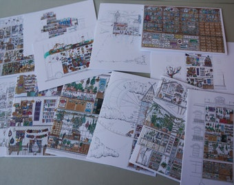 Illustrated Architectual Blank Card Set - 12 cards, 12 different designs