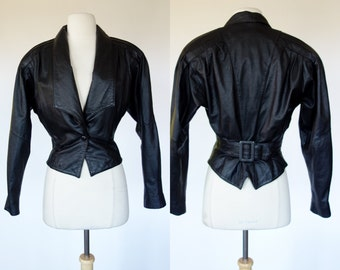 1980s black leather jacket, new wave cropped Chia coat, bat wing, dolman sleeve, nipped waist, Small