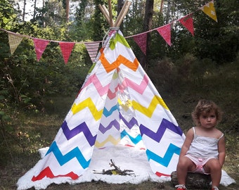Big Teepee Tent Chevron Stripe . Tipi Tent. POLES NOT INCLUDED.
