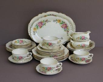 Vintage Homer Laughlin Virginia Rose SPRING WREATH Serving Dinnerware Set, 28 Piece Pink Floral Dinnerware Set, Shabby Chic Dinnerware