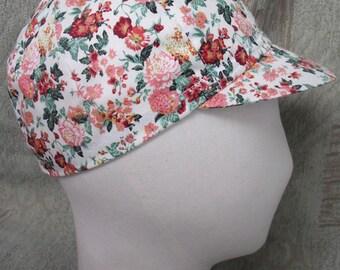 Peach Floral Cycling Cap