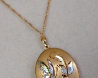 Gold Fill Butterfly Locket, Vintage Gold Butterfly Design Locket