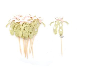 12 Gold Glitter Ballerina Shoe Cupcake Toppers - Ballerina Cupcake Toppers, Birthday Cupcake Topper, First Birthday Cupcake Toppers