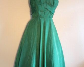 Stunning fifties ballgown evening dress prom uk 8 eu 34 green rockabilly burlesque Dita  party