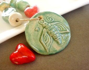 Handmade Ceramic Pendant and Bead Set, Gaea Ceramic Beads, Destash Jewelry Supplies - 8 pieces