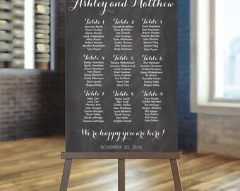 Wedding Seating Chart Printable, Chalkboard Guest List Printable, Rustic Seating  Chart, Wedding Seating  Guest Seating Chart Template