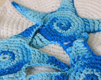 Crocheted Teal Starfish Coaster Set