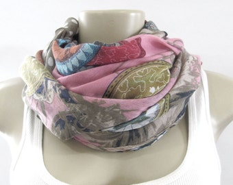 Fashion Scarves - Pink Brown Floral Scarf