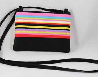 Colorful straps print , cross body, cellphone purse- Ready to Ship