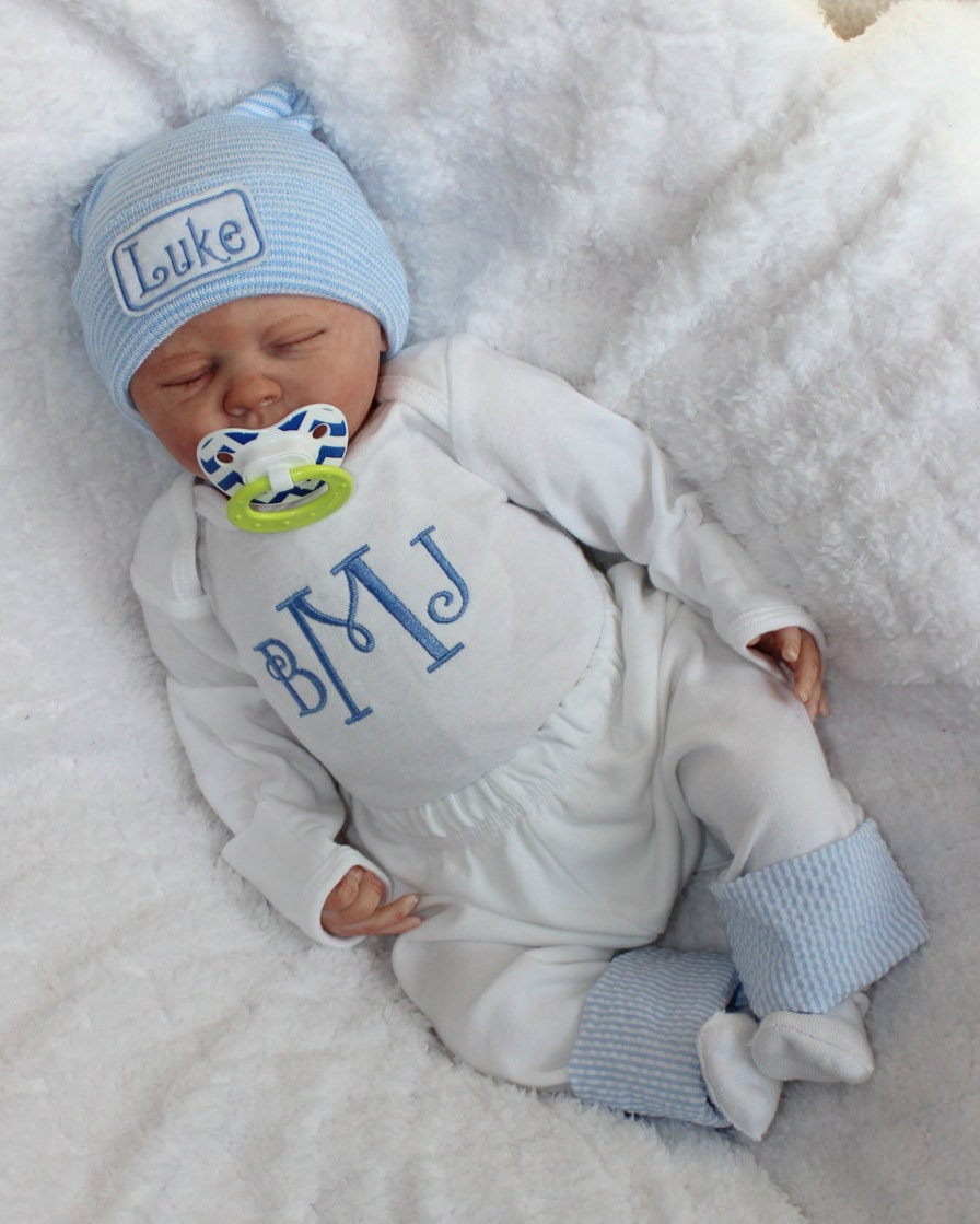 Baby Boy Coming Home Outfit. Newborn Boy Clothes. Monogram