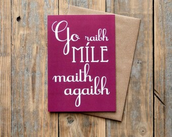 Go Raibh Míle Maith Agaibh card, as Gaeilge, thank you very much card [to more than one person], Irish language, Gaelic