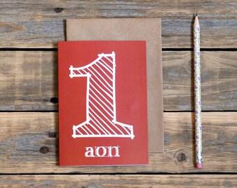 Irish first birthday card, aon, as gaeilge birthday card, made in Ireland, Irish language, childs birthday card in Irish