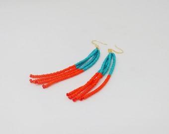 Orange and turquoise earrings,seed bead earring, tassel earring,fringe earrings,earrings,tassel turquoise earrings, bridesmaid gift,seafoam