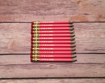 It's a girl bulk pencil set, baby shower, baby announcement, game pencils, pink and gold