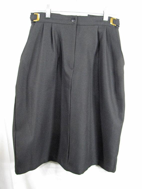 "Black Straight Skirt Women's Size 10P (adjustable waist 29"" - 34"") Circa 80's 90's Vintage Blair Boutique 100% Polyester Professional Attire"