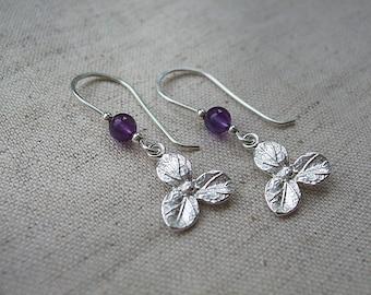 Sterling Silver Flower Dangle Earrings with Amethyst