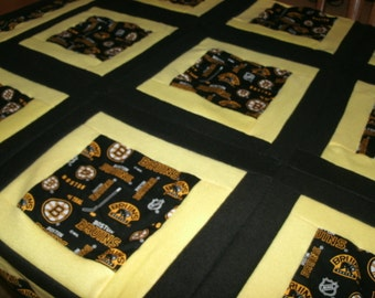 Hockey Lovers Log Cabin Style Quilt & Pillow