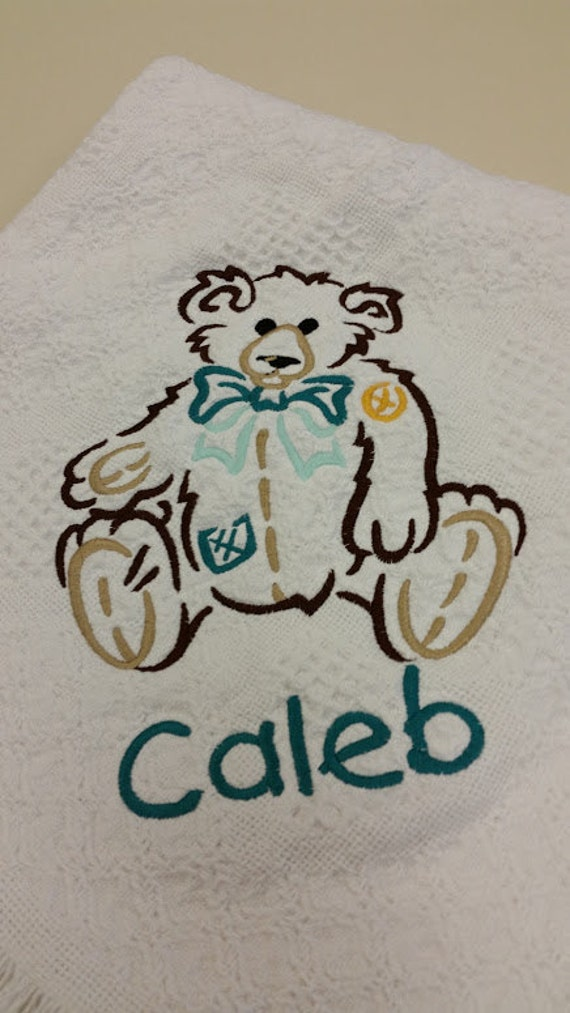 Baby Afghan Embroidered with Big Teddy Bear and babies name, Baby Shower Gift, Soft Cotton Afghan for Newborn Personalized for Baby
