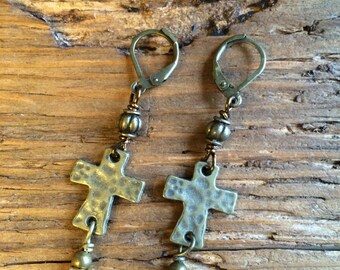 Cross Earrings / Religious / Christian Jewelry / Free Shipping