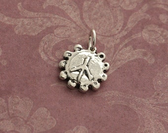 Sterling Silver Peace Charm – Sterling Peace Charm – Peace Sterling Silver Peace Sign Charm – Sterling Peace Sign Charm Silver Peace Jewelry