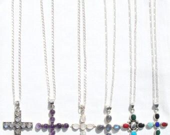 Sterling Silver Cross Necklace, Cross Pendant, Choice of Sterling Silver Cross Pendant on a Sterling Silver Chain, OOAK