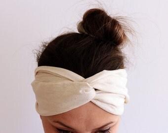 Yoga Headband - Workout Headband - Fitness Headband - Running Headband  Boho Headband Organic Natural Turban Headband,  %100 Cotton Headband