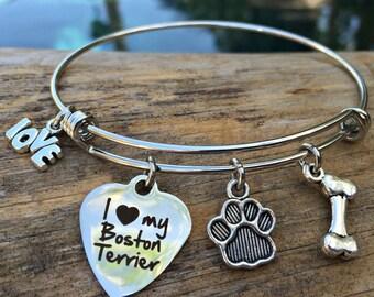 I Love My Boston Terrier Bracelet - Expandable Charm Bangle - Dog Breed Bracelet - Bracelet for Boston Terrier Owners